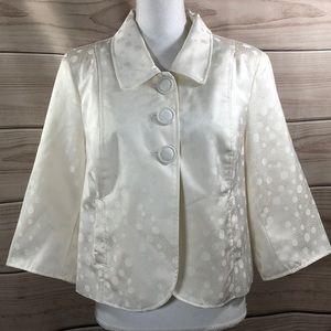 Russell Kemp Ivory Cream Polka Dot Jacket Size 16